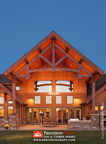 Timber Frame Exterior | Outdoor Kitchen | PrecisionCraft Timber Home