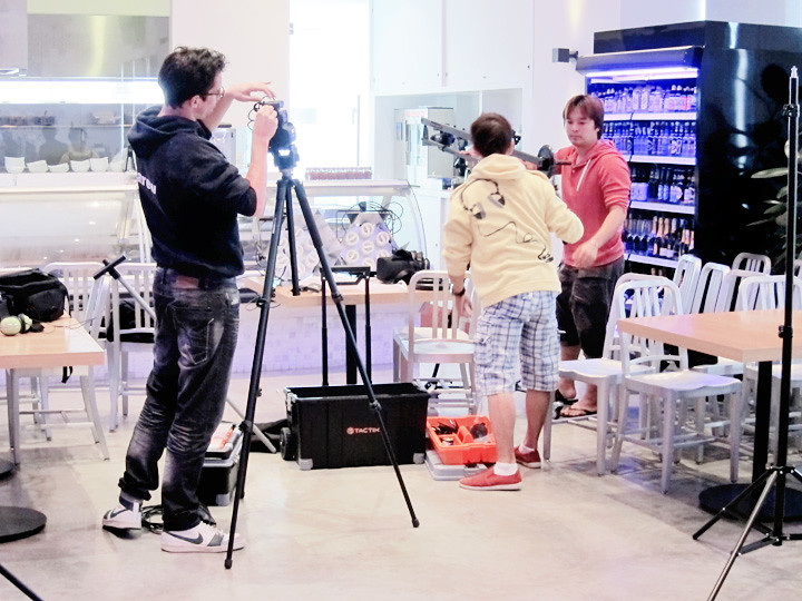 filming crew behind the scene