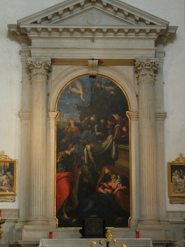 DSCN0460 _ XVII Century painting, Transport of Christ to the Sepulchre, by Jacopo Negretti called Palma il Giovane, Redentore, Venezia, 11 October