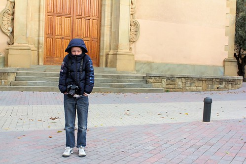 Silas in front of church_9328