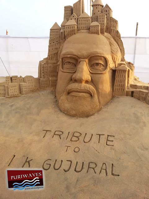 Tribute to Sri I K Gujral by Sand Art