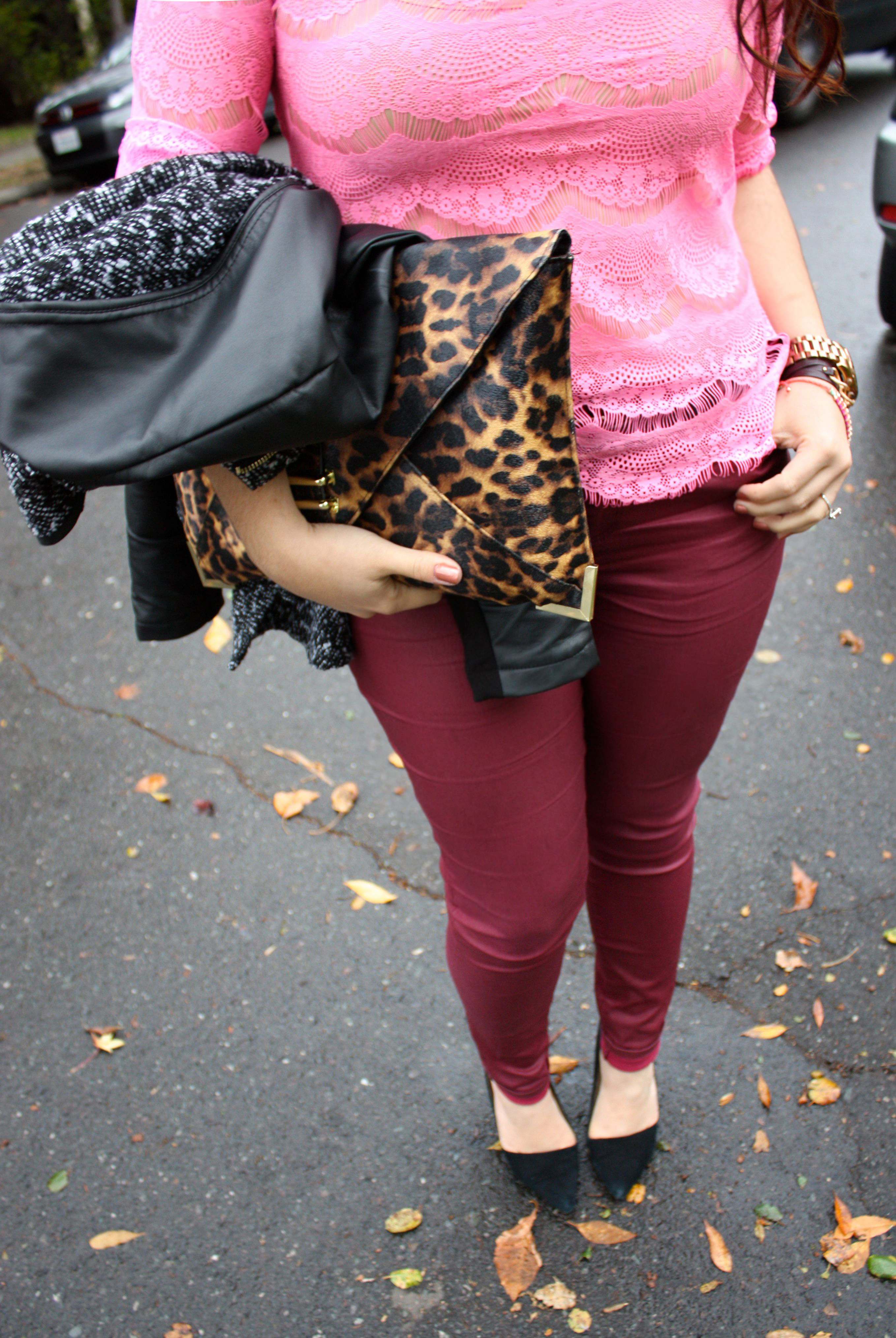 neon lace top - burgundy waxed jeans - tweed and leather peplum jacket - leopard envelope clutch14