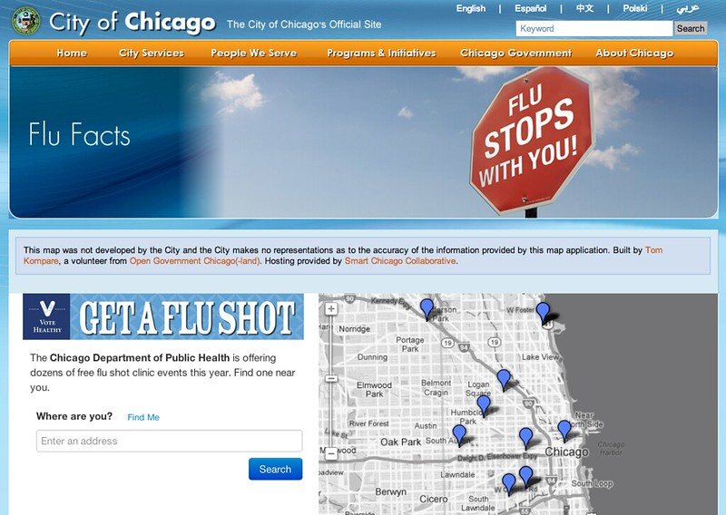 City of Chicago -- Get A Flu Shot Map