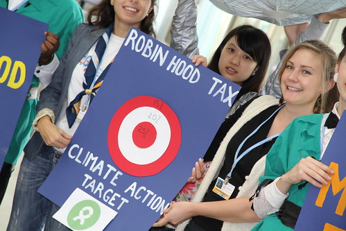 Young activists calls for a Robin Hood Tax to raise money to help tackle climate change