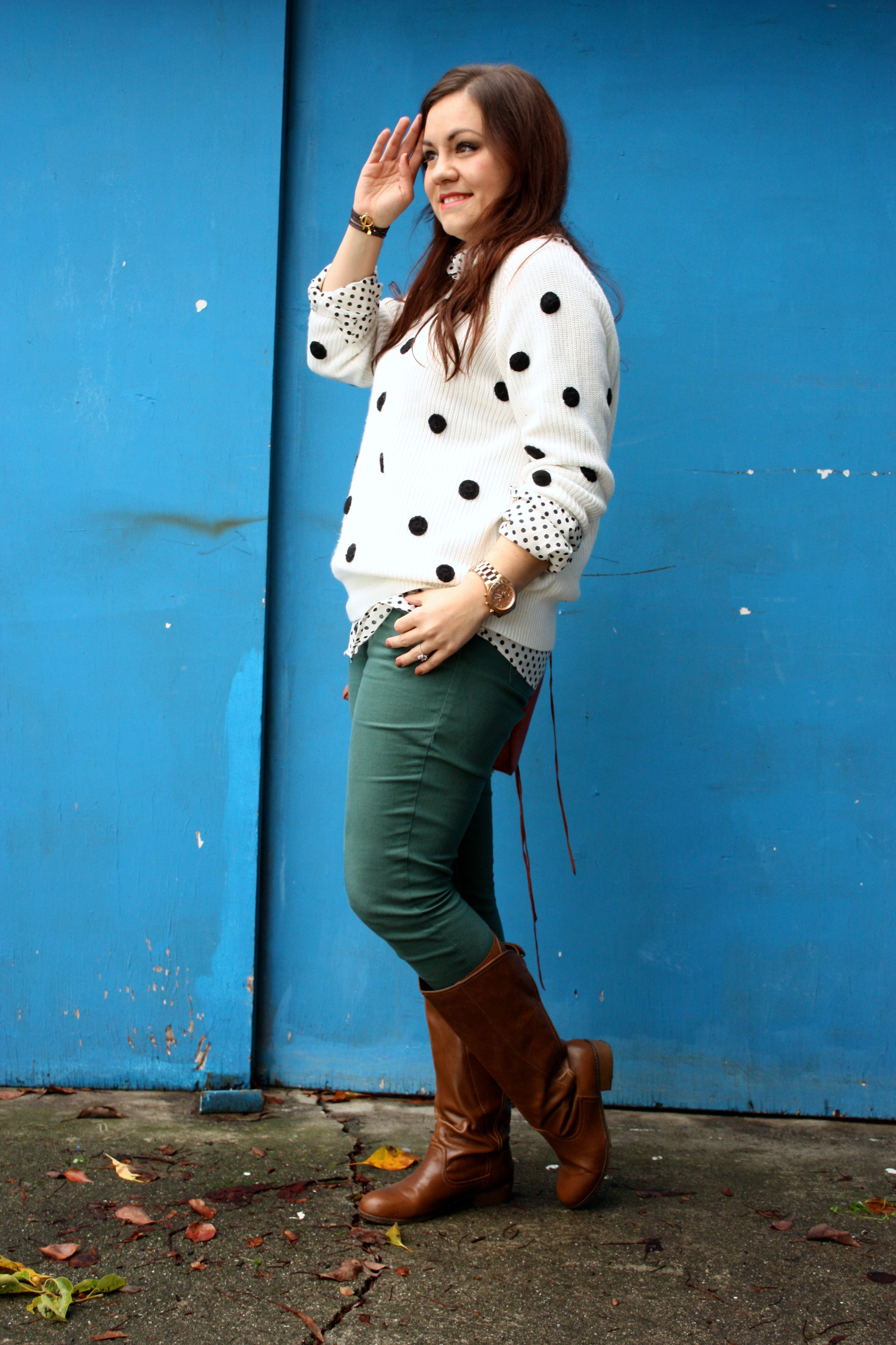 polka dot sweater and blouse - forest green jeans - congac boots - orange rebecca minkoff mac02