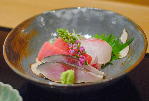 red snapper, chutoro, mackerel sashimi