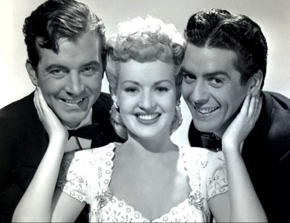 John Payne, Betty Grable & Victor Mature publicity still for - 'Footlight Serenade' 1942