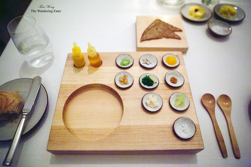 The tray for the carrot tartare course
