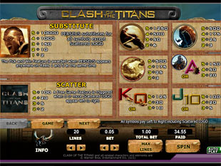 free Clash of the Titans slot payout