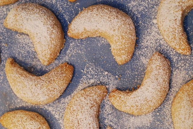 Almond crescent cookies for Christmas
