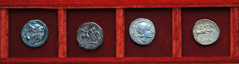 RRC 109 curved knife denarius, RRC 110 wreath denarius, RRC 112 staff silver, Ahala collection, coins of the Roman Republic