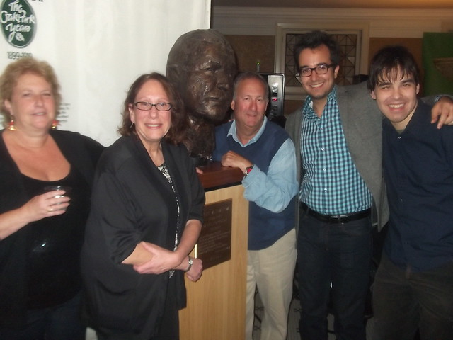 Chicago Journal/Skyline staff in front of Hemmingway's bust
