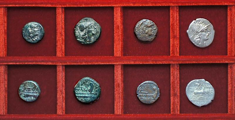 RRC 239 C.SERVEILI M.F Servilia quadrans, RRC 240 C.CVR F Victory bronzes, RRC 241 L.TREBANI Trebania denarius, Ahala collection, coins of the Roman Republic