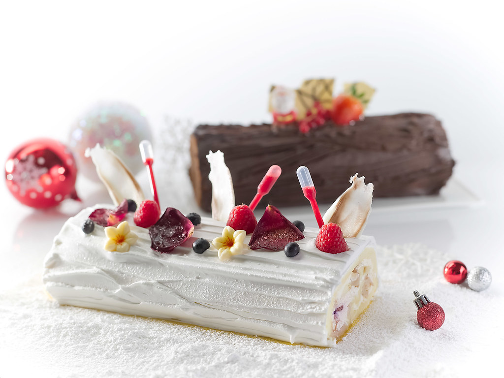 Rose Raspberry Lychee Mousse Yule Log & Chocolate Truffle with Crunchy Pearls Yule Log