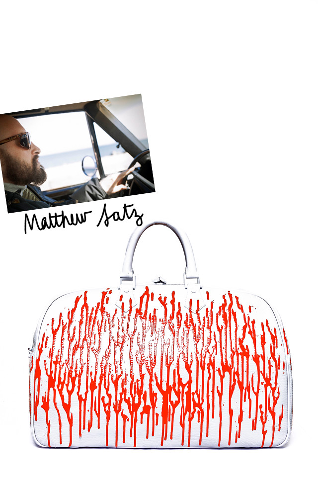 Matthew-Satz----Red-and-white-travel-bag