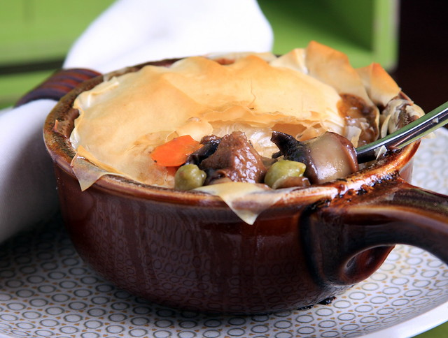 Vegan Pot Pie with Portobella, Green Garbanzo and Shallots