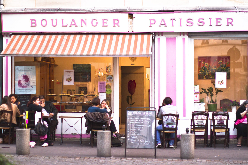 pink bakery and cafe in Paris