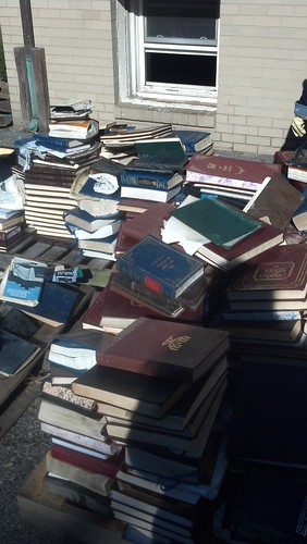prayer books and bibles (seforim) outside shul