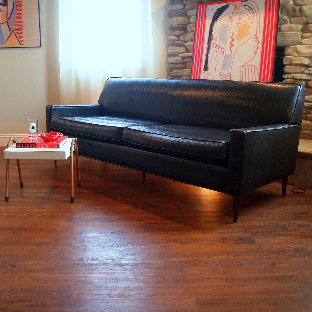 50s VINTAGE MIDCENTURY MODERN Sofa Fabulous Black Faux Leather Retro  Flexsteel 1950u0027s Living Room Mid Century