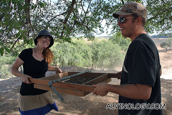 Rob and Esther having fun sieving