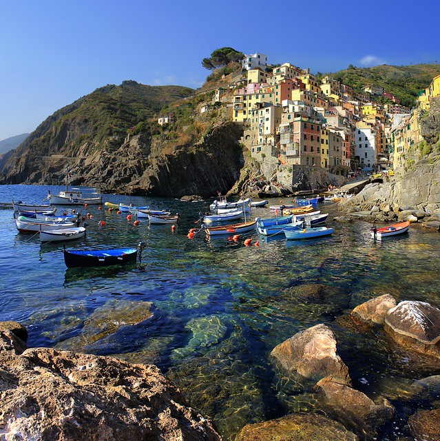The coast of Riomaggiore plunges steeply into the sea