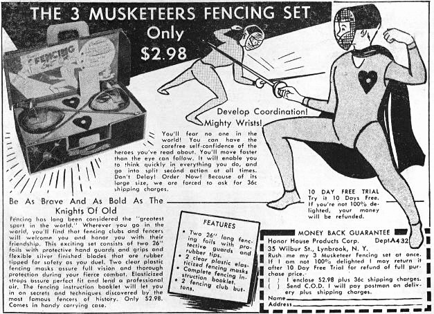 Mail Order Three Musketeers Fencing Set ad 1956