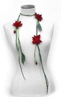 Red Felt Flower Necklace