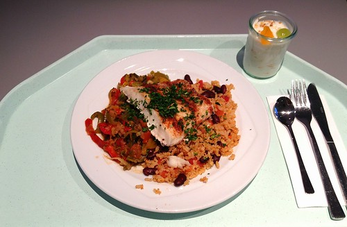 Karibisches Barschfilet mit kreolischem Bohnenreis / Caribbean perch filet with bean rice