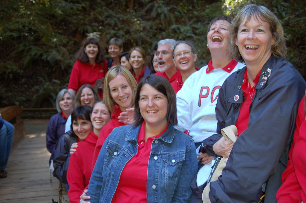 The chaperones, staff and alumni of my children's choir on tour at Muir Woods