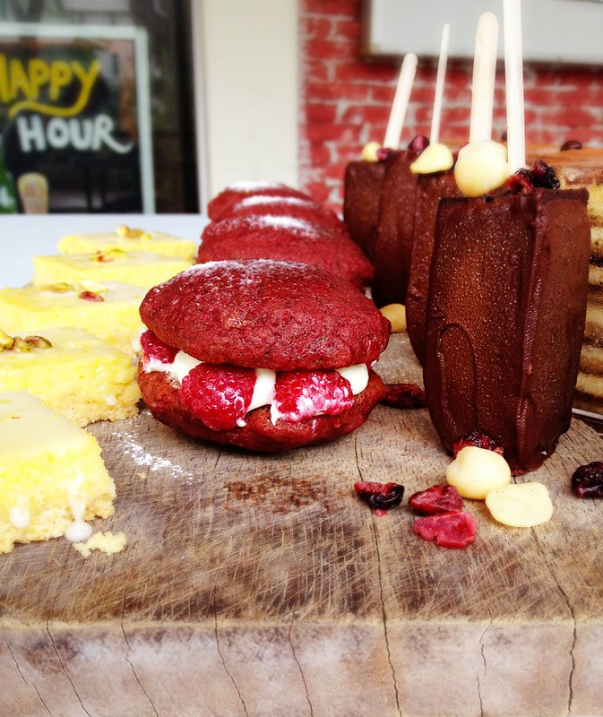 Red Velvet Whoopie Pie on platter