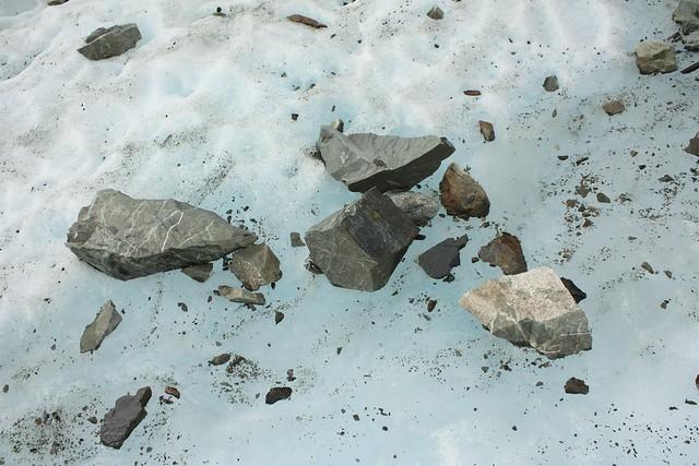 Loose rocks on top of Fox Glacier