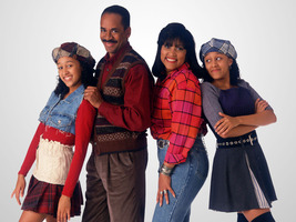 The twin sisters from Sister Sister and their respective (adoptive) parents are clutching each other and beaming.