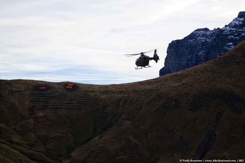 Swiss AF Eurocopter EC635 flying past a target