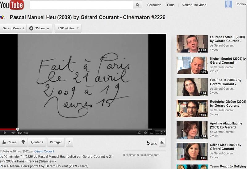 G.Courant, Cinématon sur Youtube, PMH