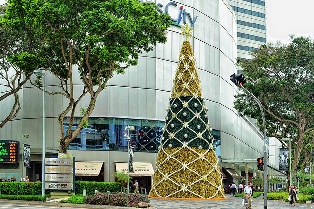 Christmas tree at Raffles City, Singapore