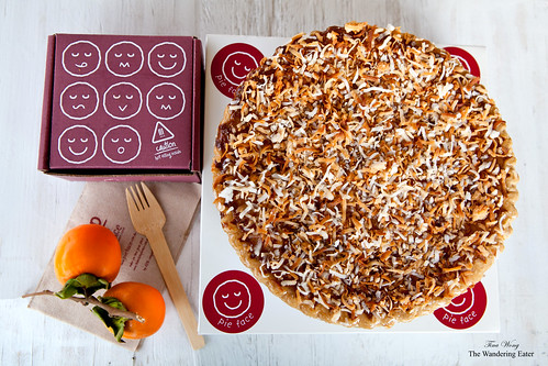 Full-sized coconut custard pie and a Thanksgiving stack pie