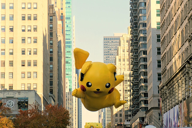 Pikachu balloon in Macy's Thanksgiving Day Parade 2012