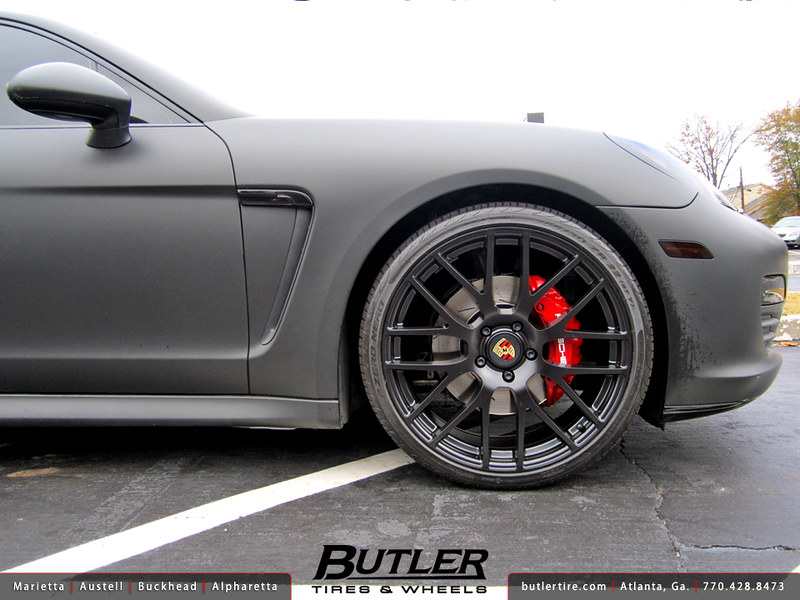 Matte Black Porsche Panamera with 22in Victor Insbruck Wheels