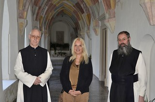 Abbot Anton Nadrah and Fr. Branko Petaver with Vassula at Stična Abbey, which is considered to be the oldest monastery present in Slovenia