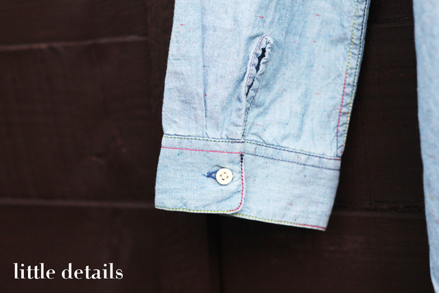 Levi's Made and Crafted chambray denim shirt with rainbow thread