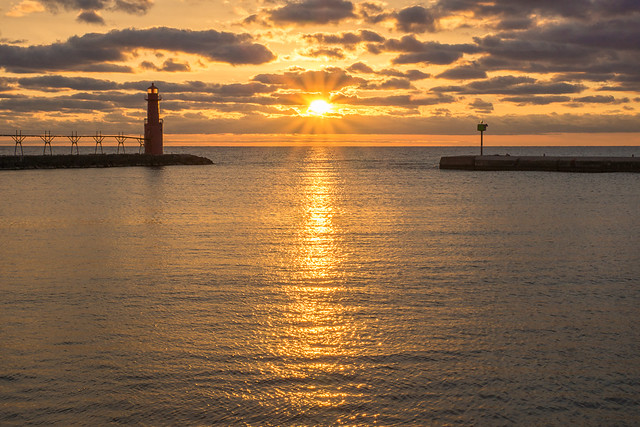 Sunrise, Star Effect, Lighthouse, Algoma, Wisconsin