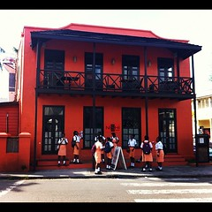 School kids. Their uniforms match the building #barbados #holiday #school
