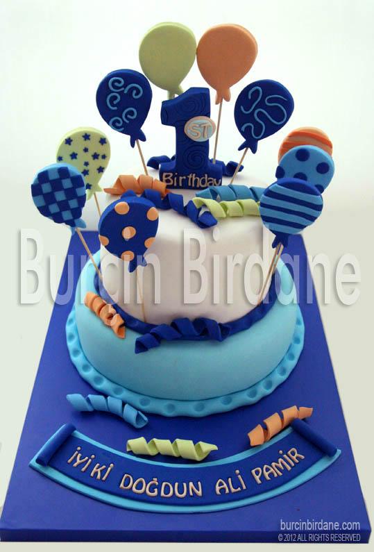 Mavi Balonlu 1 Yaş Pastası
