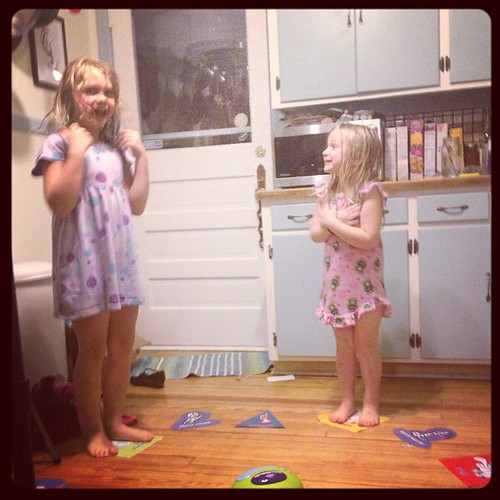 Playing Hullabaloo in the kitchen. For hours!