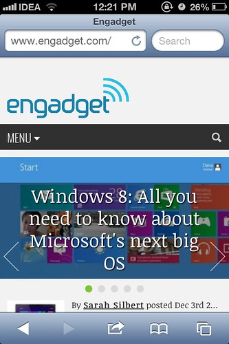 Engadget Mobile site