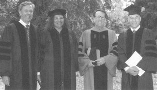 President Peter Stanley with 1995 honorary degree recipients Bruce E. Babbiit, Anita DeFrantz and Patrick Stewart