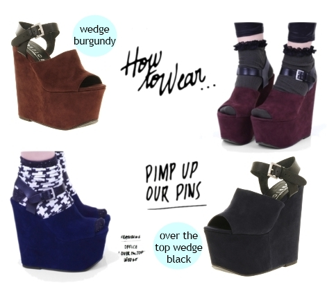 Over the top wedge shoes