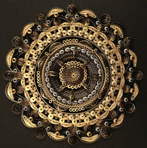 Quilled Gold, Silver, and Black Mandala by Beth Reece
