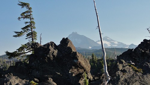Three Sisters as seen from the Lava River Trail, Dee Wright Observatory, Oregon.