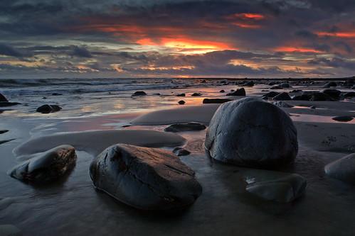 sunset beach night cloudy galloway monreith